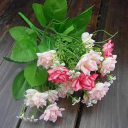 specchietti dello specchio all'ingrosso Sconti All'ingrosso-1pc 15 buste di visualizzazione fiore artificiale piante di seta decorazione della casa di nozze porta specchio architrave fiori decorativi