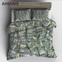 2019 ropa de cama de satén de seda rosa AHSNME decoration dollar money Juego de sábanas High-definition Print Edredón Cover para RU AU EU King Double Size Market jogo de cama