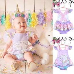Wholesale Rainbow Pony - Unicorn baby romper INS summer new little girls rainbow fly sleeve falbala backless romper children pony cartoon jumpsuits R2894