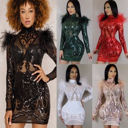 Wholesale Mini Dress Sequin Long Sleeves - 2018 Sexy Sequins Club Dresses Fashion Crew Long Sleeves Sheer Feather Over Hip Mini Bodycon Dress Wholesale Free Shipping 1244