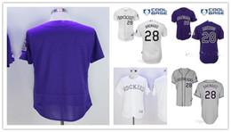 Camisa de basebol autêntica barata on-line-Barato Co Rockies Jersey 28 Camisa Nolan Arenado Autêntico Baseball Jersey Bordados logotipos Branco Cinza Roxo costurado tamanho S-3XL