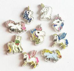 Encantos de unicornio online-(20, 50) PCS / lot Unicornio de la historieta mezclada del caballo DIY encantos del Locket flotante aptos para la memoria Locket colgante Jewelrys de moda