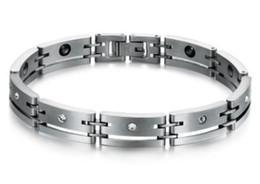 Braccialetti magnetici del diamante online-Europa americano nuovo arrivo gioielli moda uomo diamante magnetico sano bracciale in titanio festa di Natale festival regalo di amore