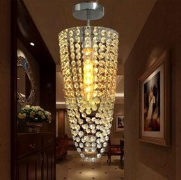 luz de techo de entrada led Rebajas LED 1 luz Chrome Modern K9 araña de cristal de iluminación D17 * H45cm AC110V-256V Lámpara de techo de cristal para pasillo de pasillo de entrada