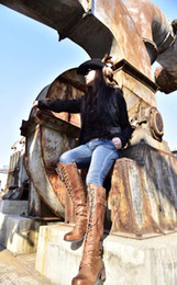 2019 botas de hebilla vintage Botas altas de cuero de vaca de estilo europeo y americano Cinturón de hebilla con cordones Botas de montar Vintage Motercycle Martin rebajas botas de hebilla vintage