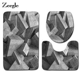 Wholesale Pattern Bath Rugs - Zeegle 3PCS Geometric Pattern Bathroom Bath Mats Set Anti-slip Floor Mats Toilet Rugs Washable Toilet Seat Covers Cushion Set