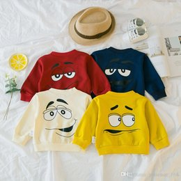 Wholesale Red Color Personality - 4 color 2018 INS NEW ARRIVAL Girls boy Kids T shirt long Sleeve Round collar cartoon Cute funny personality face print shirts