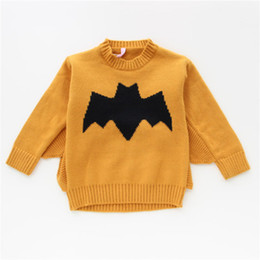 Wholesale cotton batting wholesale - Girls Sweaters Bat Design 100% Cotton Warm Knitted Bat Sweater Pullover Autumn Spring Winter Long Sleeve Outfit 1-4T