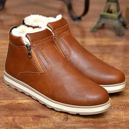 Botas de neve velhas on-line-Botas masculinas skool velho tornozelo sapatos de inverno de moda de pelúcia botas masculinas de couro PU preto sapatos retro neve quente