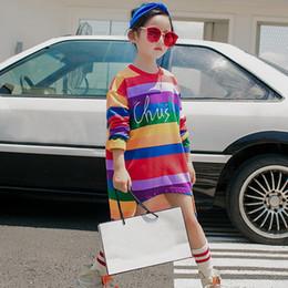 2019 nuevos éxitos Nueva Moda de Algodón Marca Adolescente Niñas Sudaderas Invierno Primavera Rainbow Hit color Sudaderas para niños Mangas Largas niños camiseta rebajas nuevos éxitos