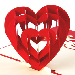 "Wholesale 3d Handmade Card Designs - ""I Love You"" Red Heart Design Handmade Creative Kirigami & Origami 3D Pop UP Greeting & Gift Cards Free Shipping"