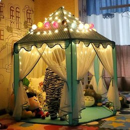 Wholesale Play Tent House - Portable Princess Castle Play Tent With Led Light Children Activity Fairy House kids Funny Indoor Outdoor Playhouse playing Toy