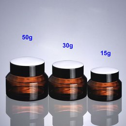 Wholesale Cosmetic Jars Sample Containers - 15g 30g 50g Brown Glass Jar Pot- Inclined Shoulder Glass Container for Wax, Oil, Cream, Cosmetic - Travel Refillable Sample Packaging Bottle