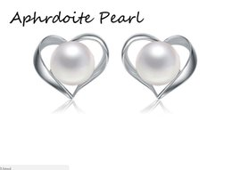 Wholesale 925 silver blanks - Solid sterling silver earring setting, 925 silver earring blank without pearl, heart pattern, jewelry DIY, gift DIY