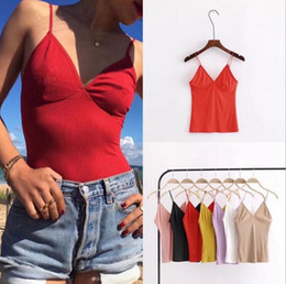 Wholesale Girls Camisole Tops - Women Tops Summer Solid Camis Sexy V Neck Casual Bodycon Sleeveless Camisole Spaghetti Strap Bralette Vest LJJO4313