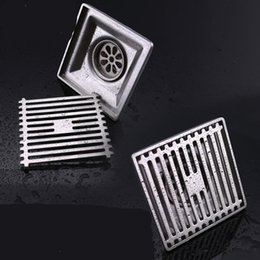 encarts carrés Promotion 304 en acier inoxydable les drains de plancher douche salle de fournitures de dessin de fil carré drainant de baignoire insert de tuile de haute qualité 32kd ff
