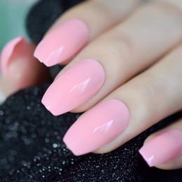 Ongles acryliques bonbons en Ligne-Cercueil brillant perle rose ballerine faux ongles rose bonbon UV Design False Nail Pleine couverture Acrylic Nails Art