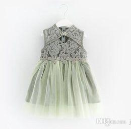 Wholesale Lace Splice Dress - wholesale Children's wear 2018 summer new girl's lace splicing princess skirt dress sleeveless dresses top quality