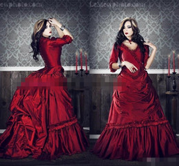 Wholesale Navy Blue Costumes - Gothic Victorian Cosplay Costumes With V-Neck Half Sleeves Ruffles Draped Burgundy Red Ball Gown Holloween Prom Party Dresses Evening Wear