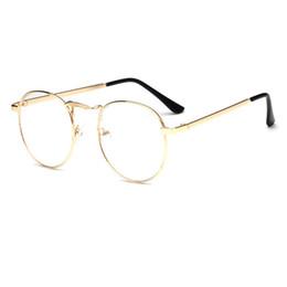 455107235e 2018 New metal round frame Eyeglasses Frames Men Women Optical Plain Mirror Eye  Glasses Frame for Myopia Glasses Gold silver