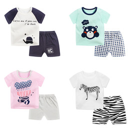 Wholesale Animal Suits - Baby T-shirt Shorts Suits Summer Two-piece Sets Short Sleeve Animal Letters Stripes Cartoon Printed Cotton Girls Boys 3M-4T