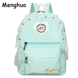 Wholesale Green Ribbon Schools - 2017 New Arrival Women Lace Ribbon Backpacks School Travel Bags Youth Trend Schoolbag Students Canvas Backpack Women Campus Bag