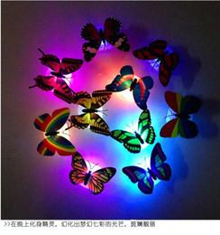arte de parede espelho redondo Desconto LED 3D Borboleta Adesivos de Parede Brilhando Decalques de Parede Crianças Decoração de Casa DIY Sala Adesivo de Parede Auto adesivos c502