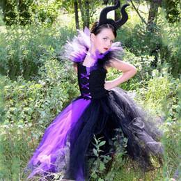 robes de tutu filles 12 ans Promotion Robe Méchante Reine Filles Tutu Black Girl Enfants Halloween Robe Cosplay Costumes Sorcière Fantaisie Fille Party Vêtements enfants 2-12y