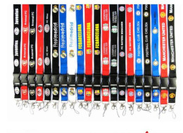 hombre cuello cadena nuevo diseño Rebajas 100 unids / lote equipos de fútbol Lanyard ID Card Badge desmontable teléfono celular Lanyard llavero para regalos de Navidad ventas calientes envío gratis