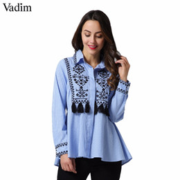 b1945266c Vadim vintage borla bordado floral camisas a rayas flecos geométricos de  manga larga blusa retro blusas mujeres LT2256 camisa de franela de manga  larga en ...