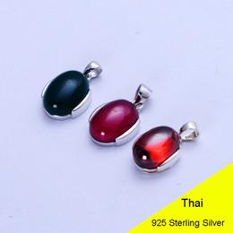 rote achat anhänger Rabatt Red Granat Blau Achat Red Korund 925 Sterling Silber Retro Anhänger Frauen Thai Silber Edlen Schmuck Geschenk CH032846