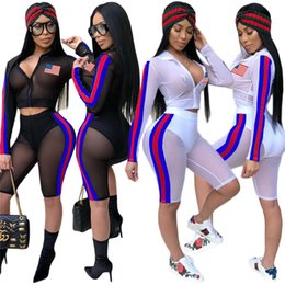 Wholesale Sexy Girls Spandex - 2018 Independence Day Sexy Fashion Mesh Two Pieces Suit USA national flag printed see-through summer sand beach sun-protective clothing sale