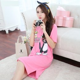 Wholesale Women Cotton Nightdress - 2017 Women Sleepwear Female Nightdress Print Cotton Nightgown Cute Short-Sleeved Women's Home Clothes Sleepwear xwq0042