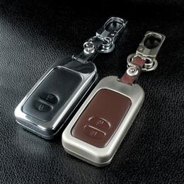Chave chave subaru on-line-Couro Car Key Case Cover Para a Toyota Land Cruiser Prado 150 Camry Prius Crown Para Subaru Outback 2013 2014 Foreste XV legado