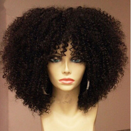 Wholesale Hair Wigs For White Women - Hotselling afro kinky curly wig Heat Resistant Synthetic Hair Wigs Curly Wigs Lace Front Wigs with bangs for black women