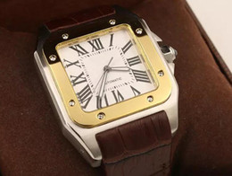 2019 новый бренд мужчины два тона 100 XL часы автоматические механические часы коричневый кожаный золотой корпус мужские спортивные кожаные застежки наручные часы от