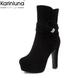 KarinLuna Tamaño grande 33-43 Cremallera Dulce Pajarita Chunky Zapatos de tacones altos Mujer Botas Plataforma femenina Botas rojas Zapatos de mujer desde fabricantes