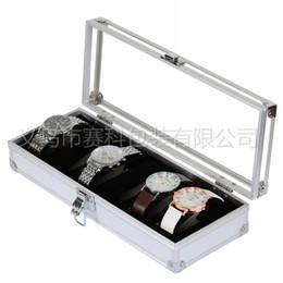 ver texturas Rebajas Los hombres portátiles y las mujeres de textura de metal ligero negro reloj de seis personas caja de decoración de caja de aluminio transparente reciben la caja del reloj