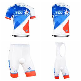 Wholesale Black Cycling Kits - FDJ team Cycling Short Sleeves jersey (bib) shorts Sleeveless Vest sets pro team men's summer breathable cycling jersey kit D2336