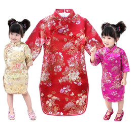 Wholesale Red Lace Qipao - Red Baby Girl Qipao Dresses 2018 New Year Children Clothes Peony Flower Girl's Cheongsam Outfits Festival Party Chi-Pao Dress Costumes