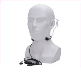 2019 micrófono de la garganta BAOFENG PTT Auriculares de garganta Auriculares Micrófono Mic Auricular Auriculares para Walkie Talkie UV-5R UV-5RE Equipo de actividad al aire libre micrófono de la garganta baratos