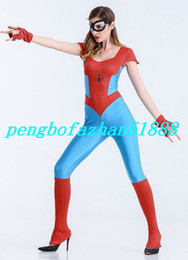 Wholesale Sexy Spiderman Lycra Costume Xl - Sexy Women Spider Body Suit Outfit New Red Sky Blue Lycra Spandex Spiderman Suit Catsuit Costumes Fantasy Women Spider Bodysuit Costumes 297