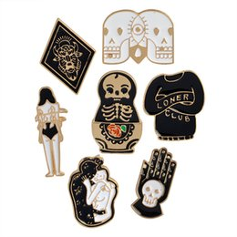 Wholesale Skeleton Woman - Skelet Skull Matryoshka Doll Totem Loner Club Love Woman Badge Brooch Pins Enamel Suit Shirt Lapel Pin for Women Gift Drop Shipping