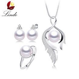 Conjuntos de perlas puras online-Las mujeres 3pcs 100% 5A Natural de la perla de agua dulce establece casi ningún defecto Fashion Pure S925 Sterling Silver Party Jewelry Lindo