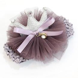 Wholesale Korean Flower Girl Accessories - New Fashion Korean Cute Girls Headband Yarn Flower Crown Hairbands Girls Headwear Kids Hair Accessories Pink Purple 3 Colors