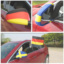 Wholesale Mirror Flags - New Russia 2018 World Cup National flag Car Side View Mirror sleeve Cover World Cup Printing football soccer fans gift GGA89 1000pcs
