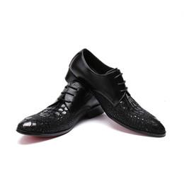 chaussures formelles Promotion Nouveau Mode Hommes Crocodile Grain Motif Bas Talon Robe Chaussures Casual De Mariage Formelle Plat Respirant Wedge Chaussures