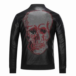 New Motorcycle Leather Jackets  1071 Men Casual Coats Autumn Winter Fashion  Rhinestone Skulls Long Sleeve Leather Clothing Jacket Men s 6b14aead7909