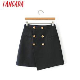 2019 mini-saia de senhora de escritório Tangada sweet saias assimétricas das mulheres do sexo feminino outono inverno curto mini saias ladies office marca marinha do vintage 6A07 mini-saia de senhora de escritório barato