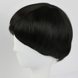 Wholesale synthetic white hair bangs - Straight Short Wigs Synthetic Hair for Black or White Women Men High Temperature Fiber Black Wig with Bangs for Daily Party Cosplay Use